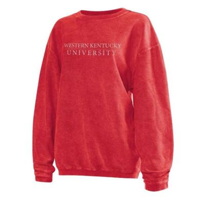 Western Kentucky Chicka-D Women's Distressed Bar Logo Corded Sweatshirt