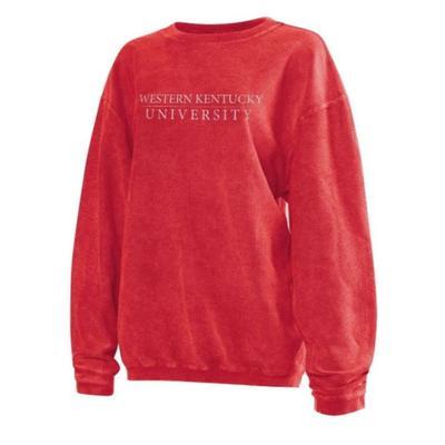 Western Kentucky Chicka-D Women's Distressed Bar Logo Corded Sweatshirt