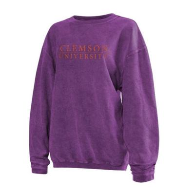 Clemson Chicka-D Women's Distressed Bar Logo Corded Sweatshirt