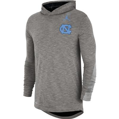 UNC Jordan Brand Dri-FIT Cotton Long Sleeve Sideline Hoodie Tee