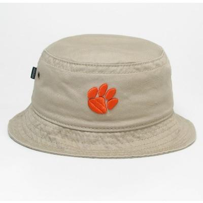 Clemson Legacy Paw Khaki Twill Bucket Hat