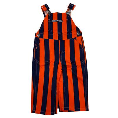 Navy and Orange Infant Game Bibs Striped Overalls