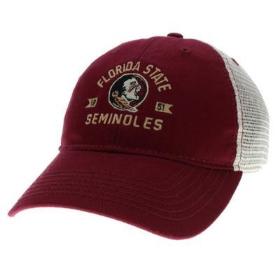 Florida State Legacy Arch w Mascot Logo Twill Trucker Hat