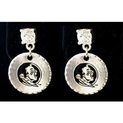 Florida State Silver Stamped Disk Earrings