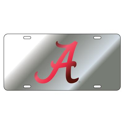 Alabama License Plate Silver with Crimson A