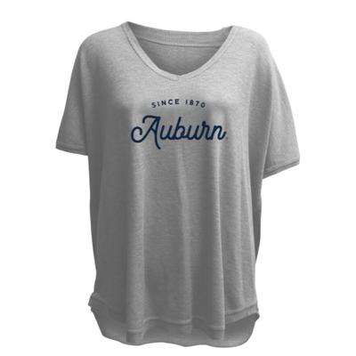 Auburn Summit Women's Waffle Knit V Neck Tee