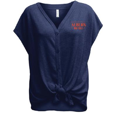Auburn Summit Women's Waffle Knit Button Front Tied Top