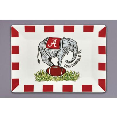 Alabama Magnolia Lane Elephant Football Platter