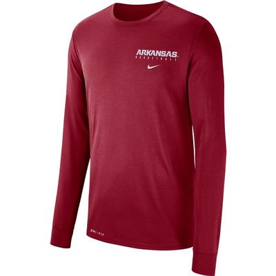 Arkansas Nike Dri-FIT Basketball Logo Long Sleeve Tee