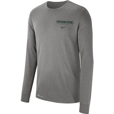 Michigan State Nike Dri-FIT Basketball Logo Long Sleeve Tee