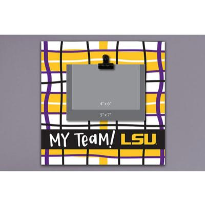 LSU Magnolia Lane Wood Plaid Frame