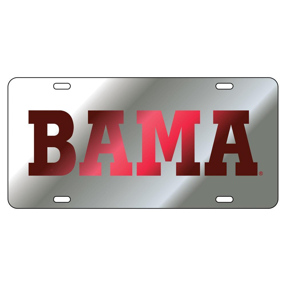Alabama License Plate Silver/Crimson Bama