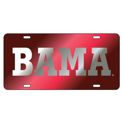 Alabama License Plate Crimson/Silver BAMA