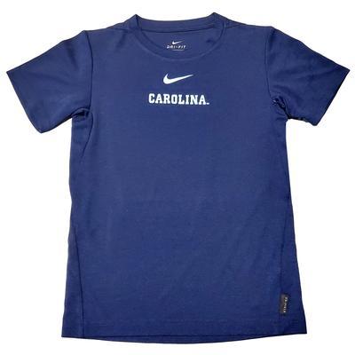 UNC Nike Boys Coaches Short Sleeve Tee