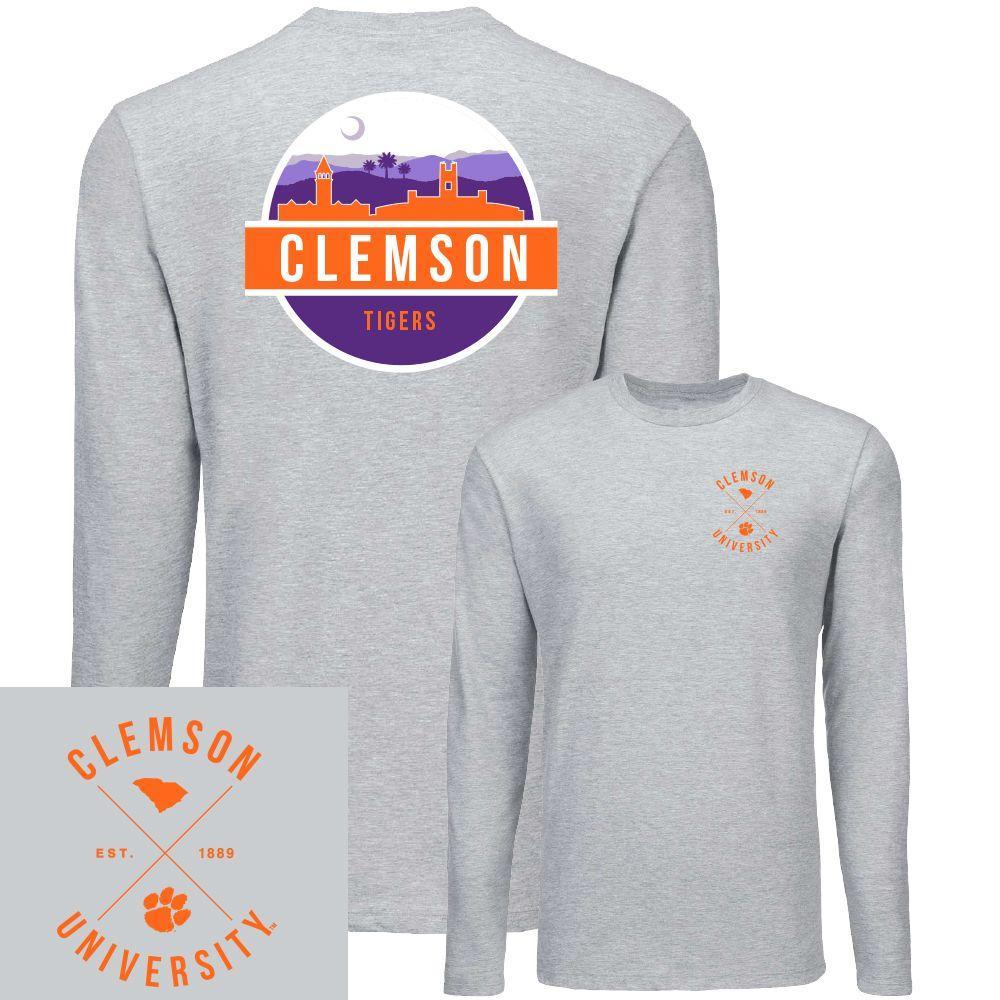 Clemson Uscape Circle Scene Long Sleeve Tee Shirt