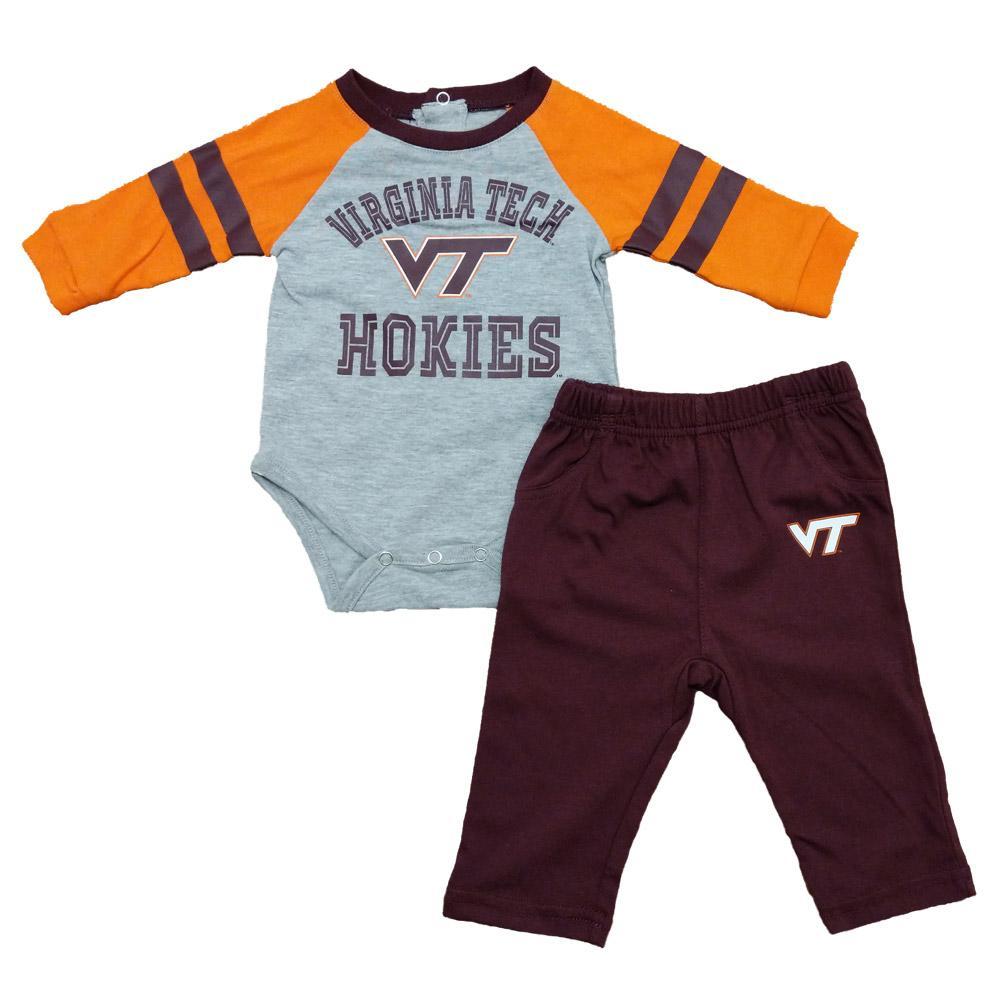 Virginia Tech Newborn L/S Creeper/Pant Set