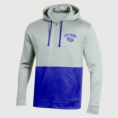 LSU Champion Men's Field Day Poly Fleece 1/4 Zip Hoody