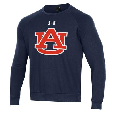 Auburn Under Armour Men's All Day Fleece Crew NAVY