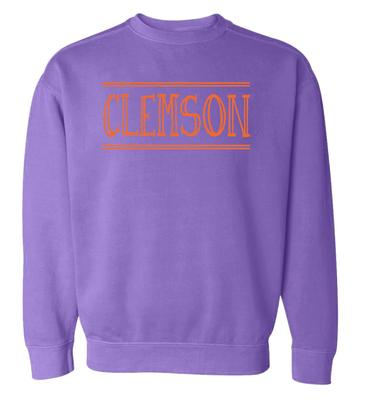 Clemson Summit Women's Hand Drawn Double Bar CC Crew Sweatshirt