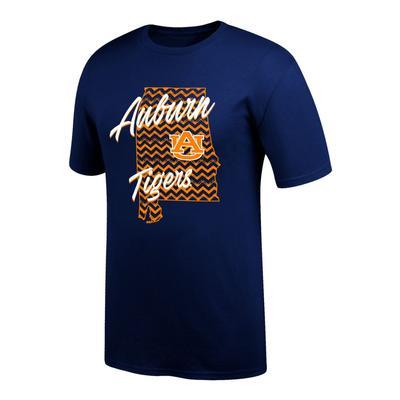 Auburn Women's Chevron Pattern State Tee Shirt