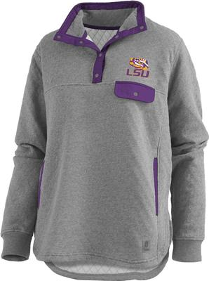 LSU Pressbox Women's Magnum Quilted 1/4 Snap