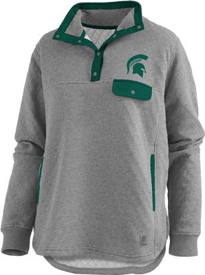 Michigan State Pressbox Women's Magnum Quilted 1/4 Snap