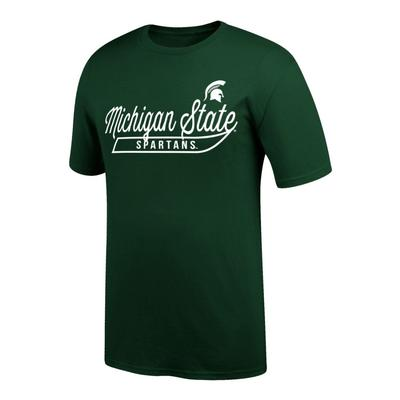 Michigan State Logo Script Name Tee Shirt