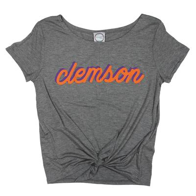 Clemson Kickoff Couture Women's Fan Script Tie Front Top