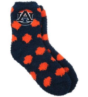 Auburn ZooZatz Reverse Fuzzy Dot Socks