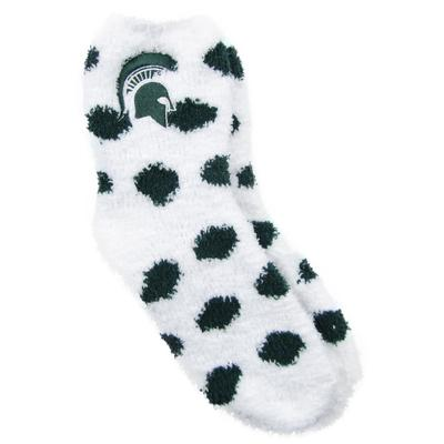 Michigan State ZooZatz Reverse Fuzzy Dot Socks