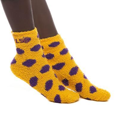 LSU ZooZatz Reverse Fuzzy Dot Socks