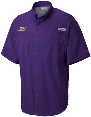 LSU Columbia Tall Sizes Tamiami Short Sleeve Shirt