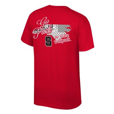 NC State Women's Script on Pattern State Tee Shirt