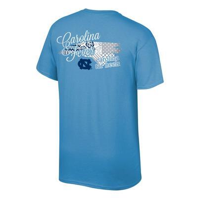 North Carolina Women's Script on Pattern State Tee Shirt
