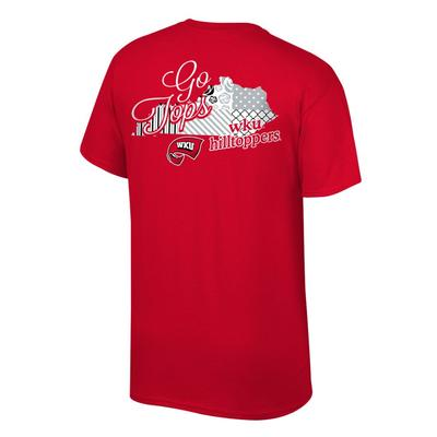 Western Kentucky Women's Script on Pattern State Tee Shirt