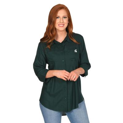 Michigan State University Girls Front Pleat Button-Up