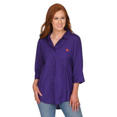 Clemson University Girl Front Pleat Button-Up