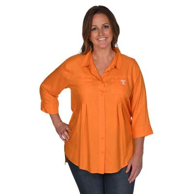 Tennessee University Girl Front Pleat Button-Up - Plus Sizes