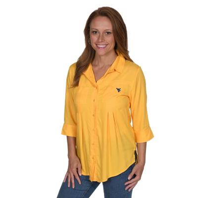 West Virginia University Girl Front Pleat Button-Up