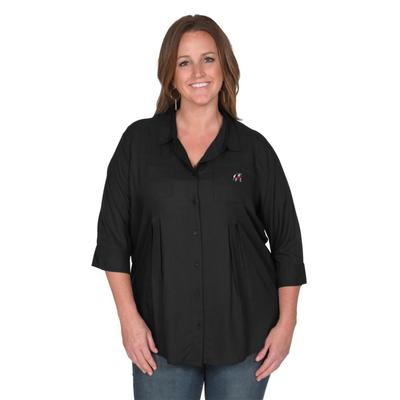 Georgia University Girl Front Pleat Button-Up - Plus Sizes