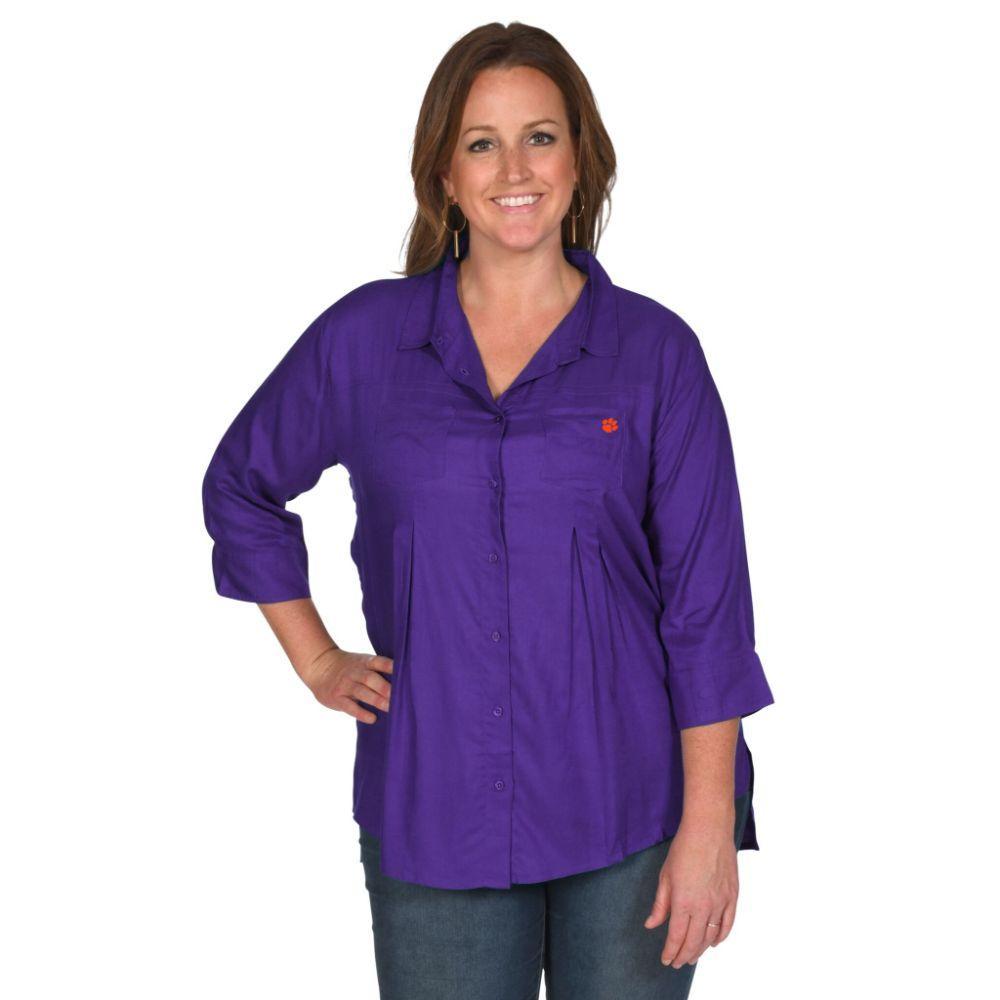 Clemson University Girls Front Pleat Button- Up - Plus Sizes
