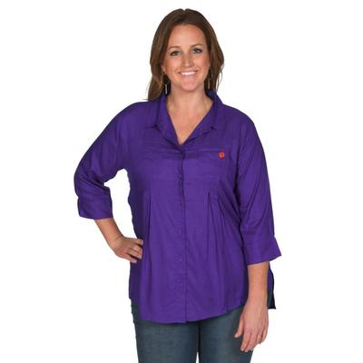 Clemson University Girls Front Pleat Button-Up - Plus Sizes
