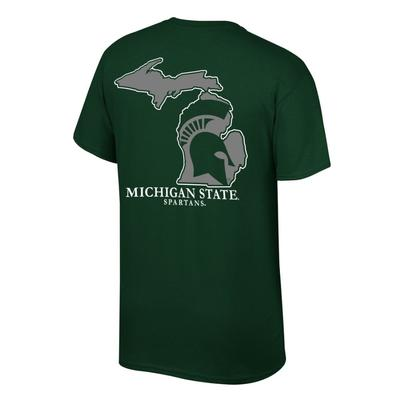 Michigan State Spartan Logo in State Tee Shirt