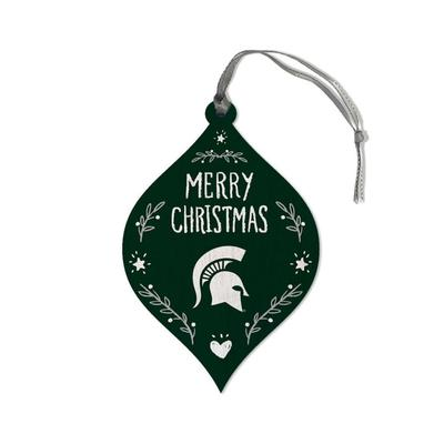 Michigan State Legacy Merry Christmas Teardrop Ornament