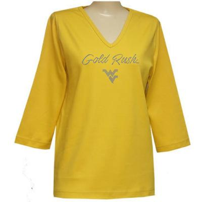 West Virginia Nitro 3/4 Sleeve V Neck Top