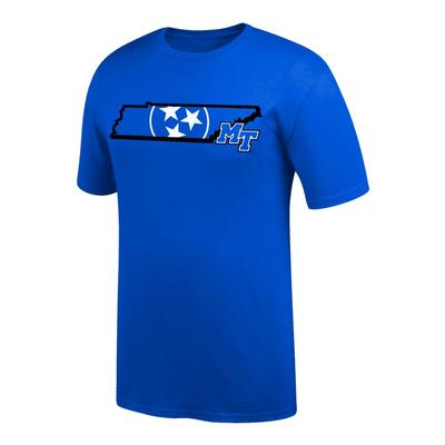 MTSU Tri-Star Logo in State Tee Shirt