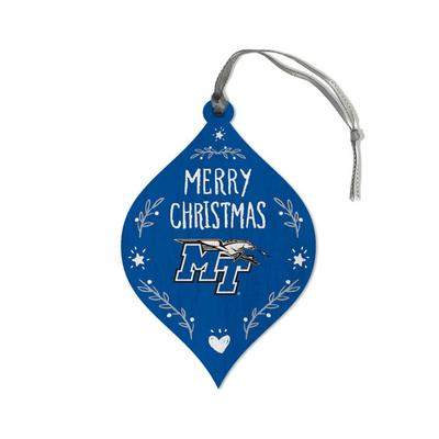 MTSU Legacy Merry Christmas Teardrop Ornament