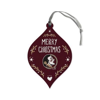 FSU Legacy Merry Christmas Teardrop Ornament