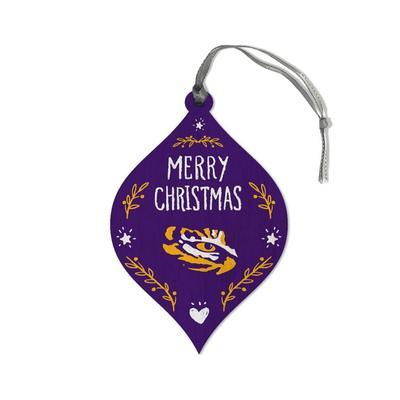 LSU Legacy Merry Christmas Teardrop Ornament