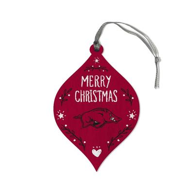 Arkansas Legacy Merry Christmas Teardrop Ornament